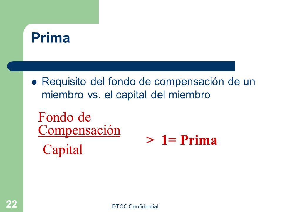 DTCC Confidential 22 Prima Requisito del fondo de compensación de un miembro vs. el capital del miembro Fondo de Compensación Capital > 1= Prima