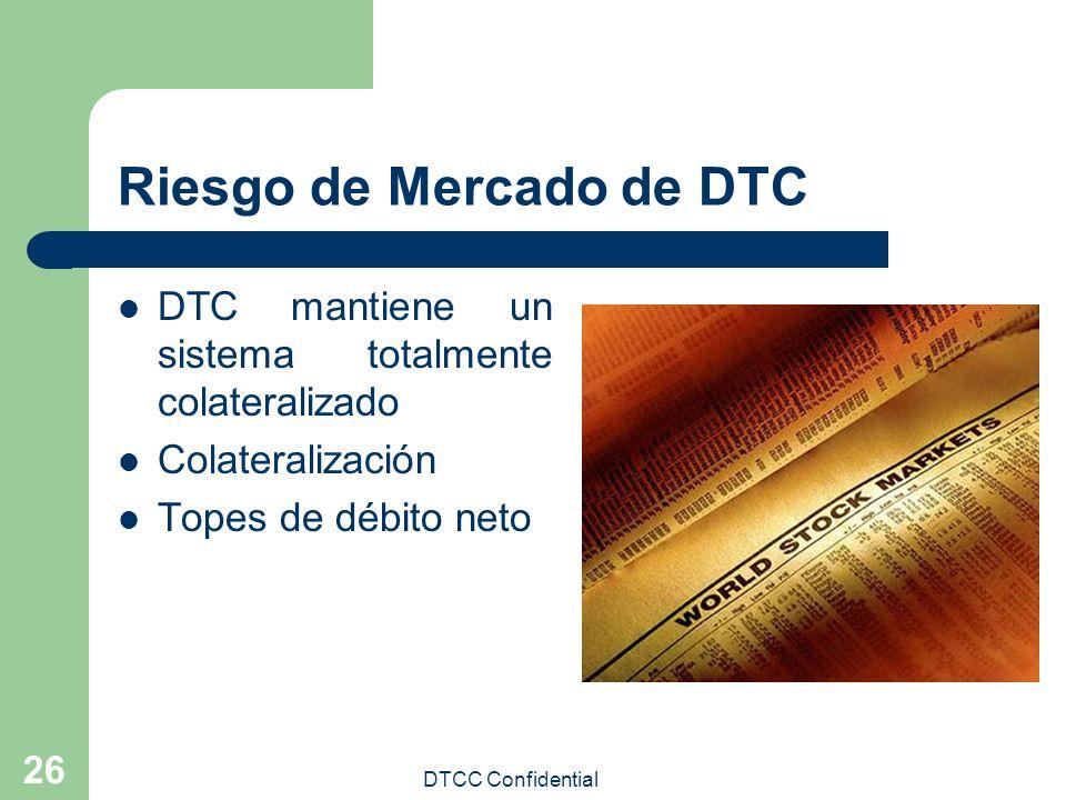 DTCC Confidential 26 Riesgo de Mercado de DTC DTC mantiene un sistema totalmente colateralizado Colateralización Topes de débito neto