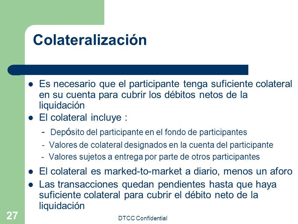 DTCC Confidential 27 Colateralización Es necesario que el participante tenga suficiente colateral en su cuenta para cubrir los débitos netos de la liq