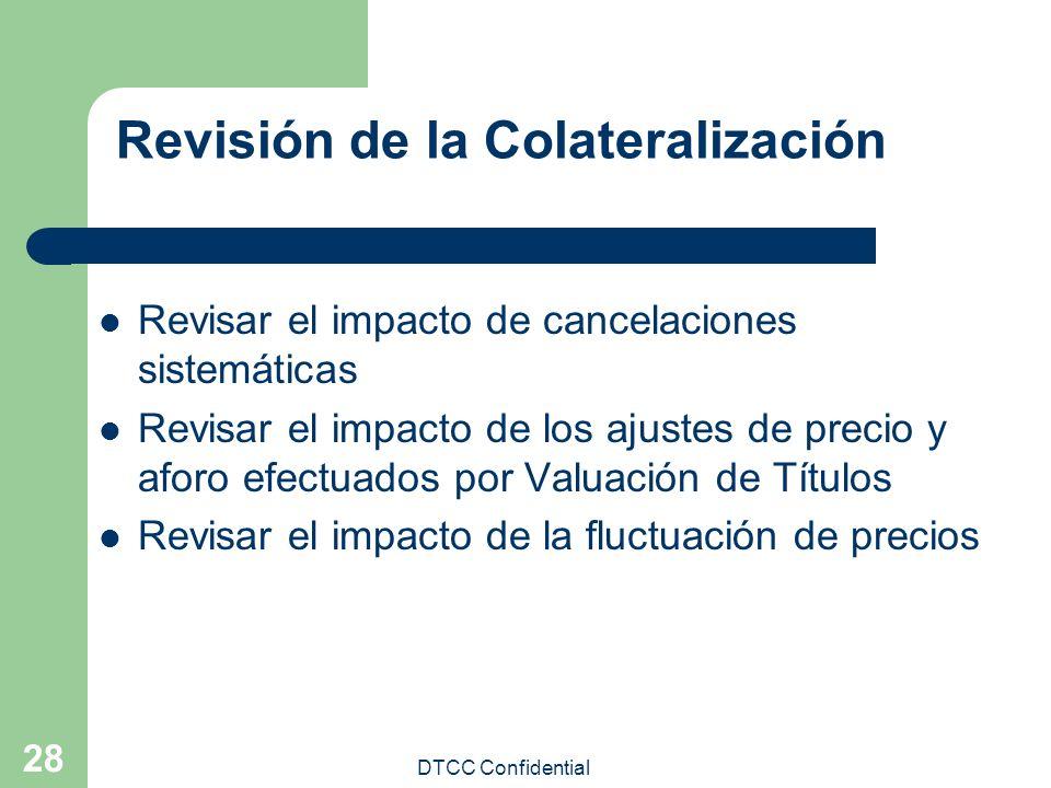 DTCC Confidential 28 Revisión de la Colateralización Revisar el impacto de cancelaciones sistemáticas Revisar el impacto de los ajustes de precio y af