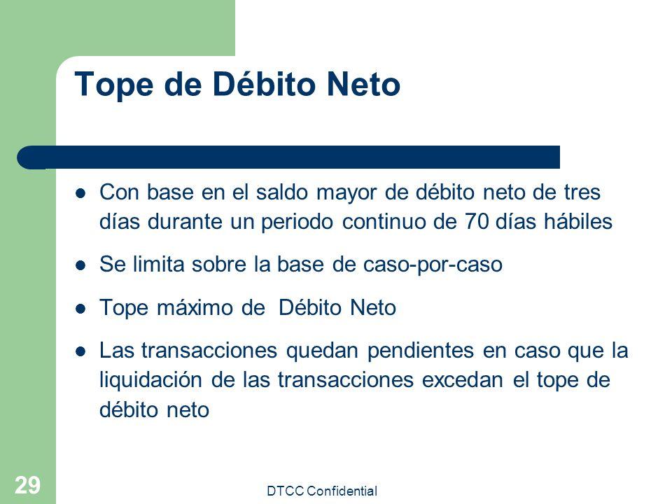 DTCC Confidential 29 Tope de Débito Neto Con base en el saldo mayor de débito neto de tres días durante un periodo continuo de 70 días hábiles Se limi