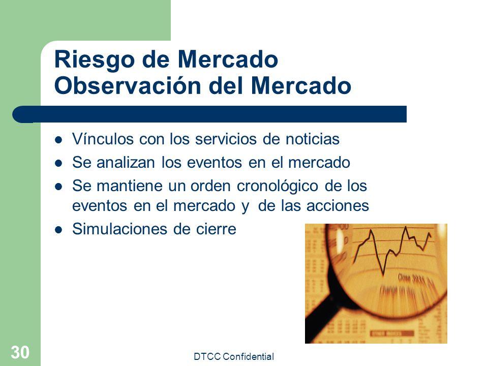 DTCC Confidential 30 Riesgo de Mercado Observación del Mercado Vínculos con los servicios de noticias Se analizan los eventos en el mercado Se mantien