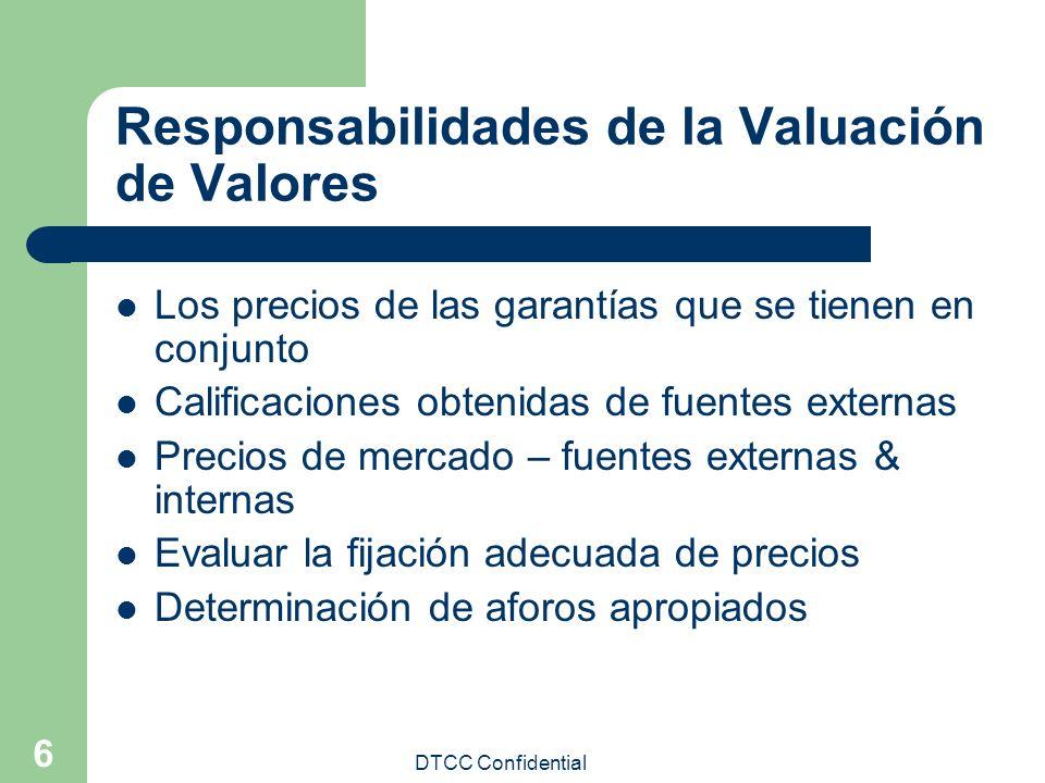 DTCC Confidential 6 Responsabilidades de la Valuación de Valores Los precios de las garantías que se tienen en conjunto Calificaciones obtenidas de fu
