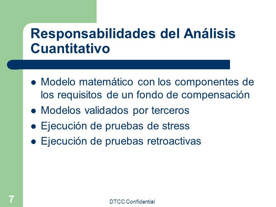 DTCC Confidential 7 Responsabilidades del Análisis Cuantitativo Modelo matemático con los componentes de los requisitos de un fondo de compensación Mo