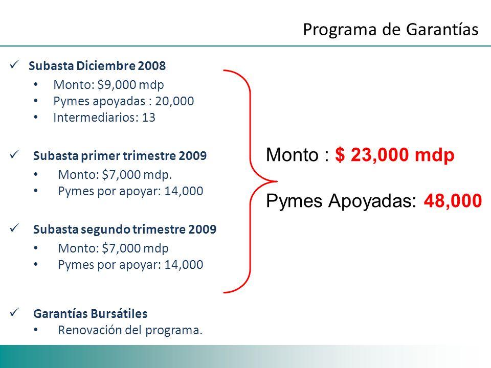 Subasta Diciembre 2008 Monto: $9,000 mdp Pymes apoyadas : 20,000 Intermediarios: 13 Subasta primer trimestre 2009 Monto: $7,000 mdp. Pymes por apoyar: