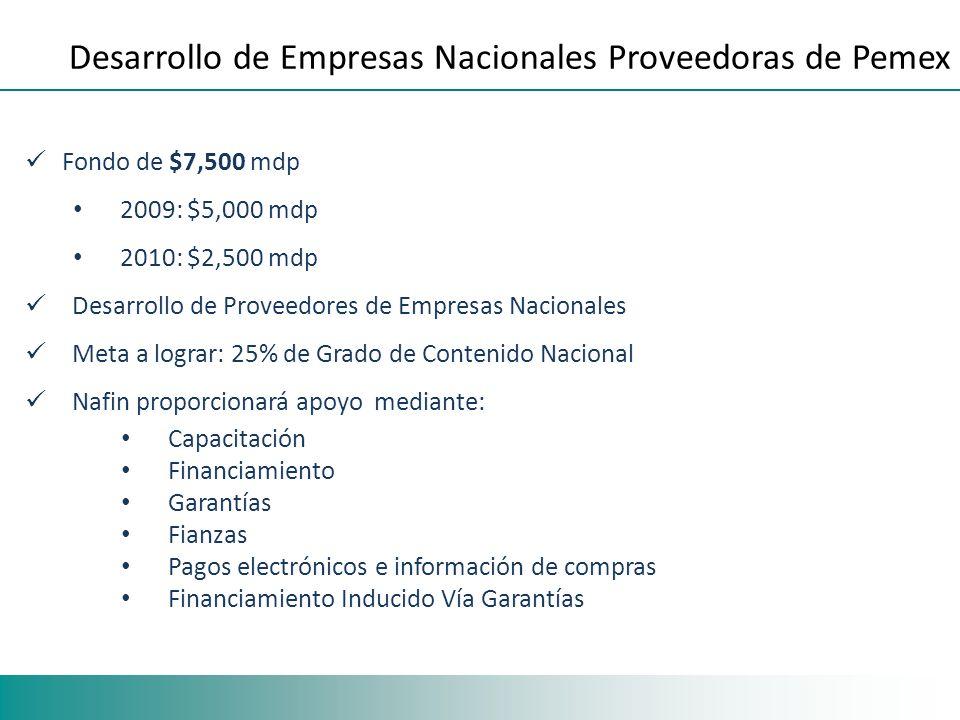 Fondo de $7,500 mdp 2009: $5,000 mdp 2010: $2,500 mdp Desarrollo de Proveedores de Empresas Nacionales Meta a lograr: 25% de Grado de Contenido Nacion