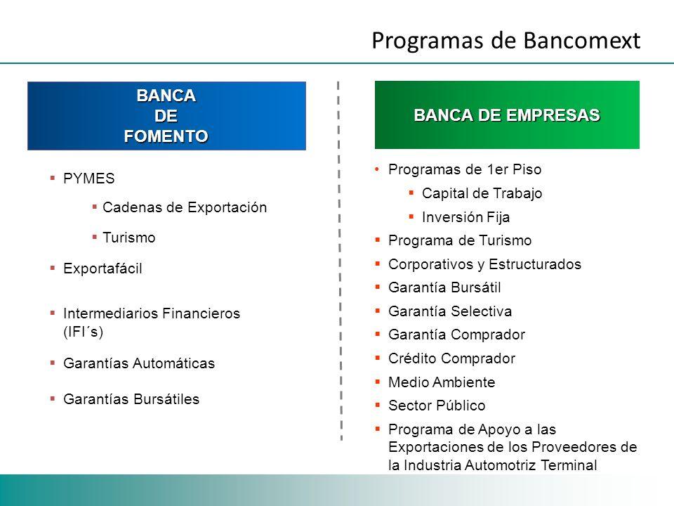 BANCADEFOMENTO BANCA DE EMPRESAS PYMES Cadenas de Exportación Turismo Exportafácil Intermediarios Financieros (IFI´s) Garantías Automáticas Garantías