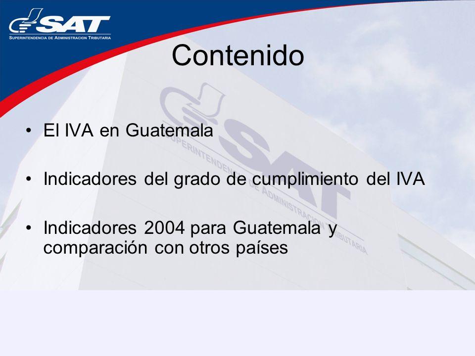 Contenido El IVA en Guatemala Indicadores del grado de cumplimiento del IVA Indicadores 2004 para Guatemala y comparación con otros países