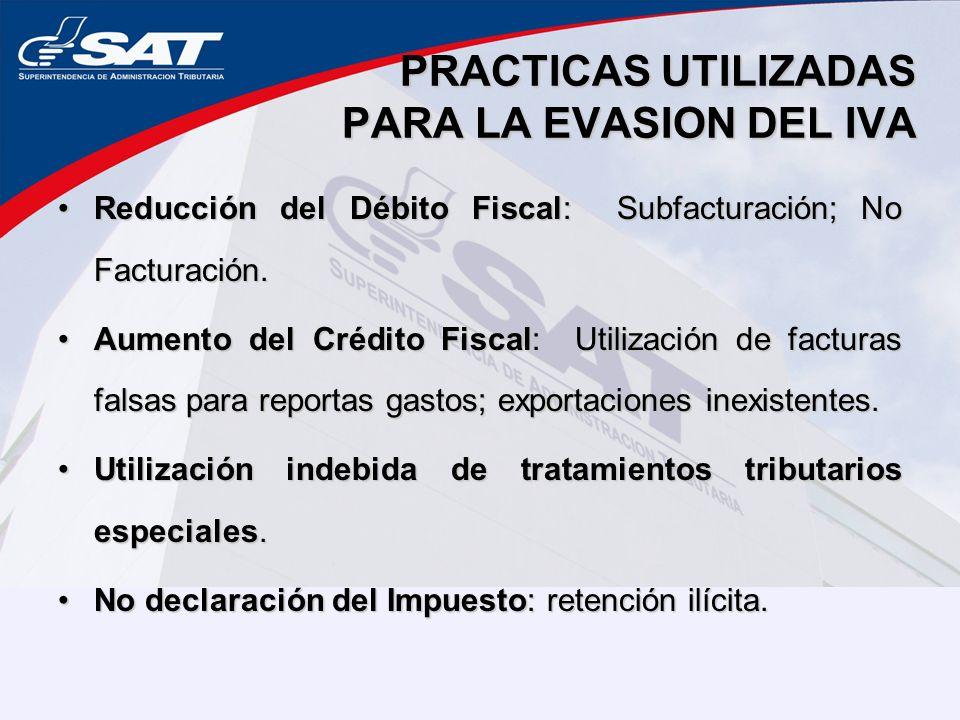 PRACTICAS UTILIZADAS PARA LA EVASION DEL IVA Reducción del Débito Fiscal: Subfacturación; No Facturación.Reducción del Débito Fiscal: Subfacturación; No Facturación.