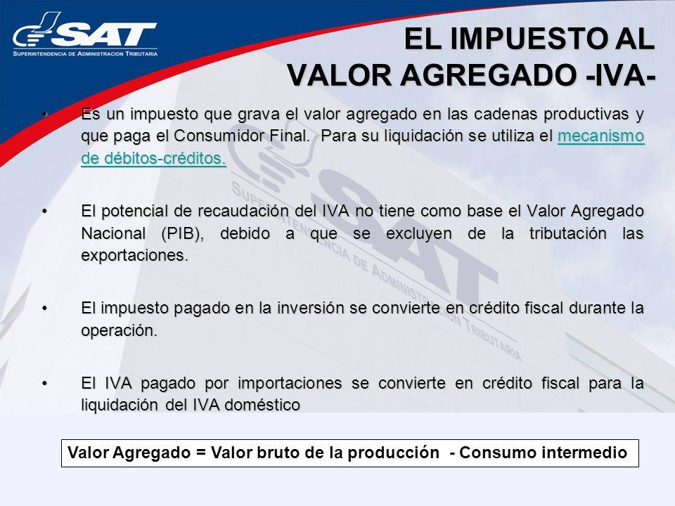 EL IMPUESTO AL VALOR AGREGADO -IVA- Es un impuesto que grava el valor agregado en las cadenas productivas y que paga el Consumidor Final. Para su liqu