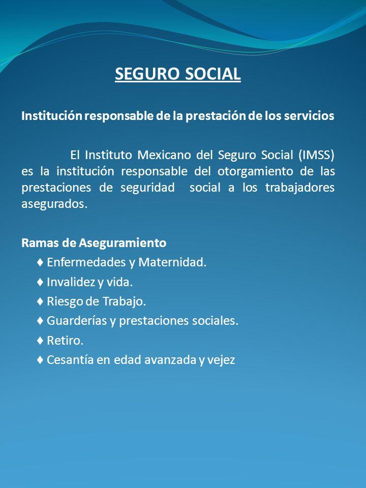 SEGURO SOCIAL Institución responsable de la prestación de los servicios El Instituto Mexicano del Seguro Social (IMSS) es la institución responsable d