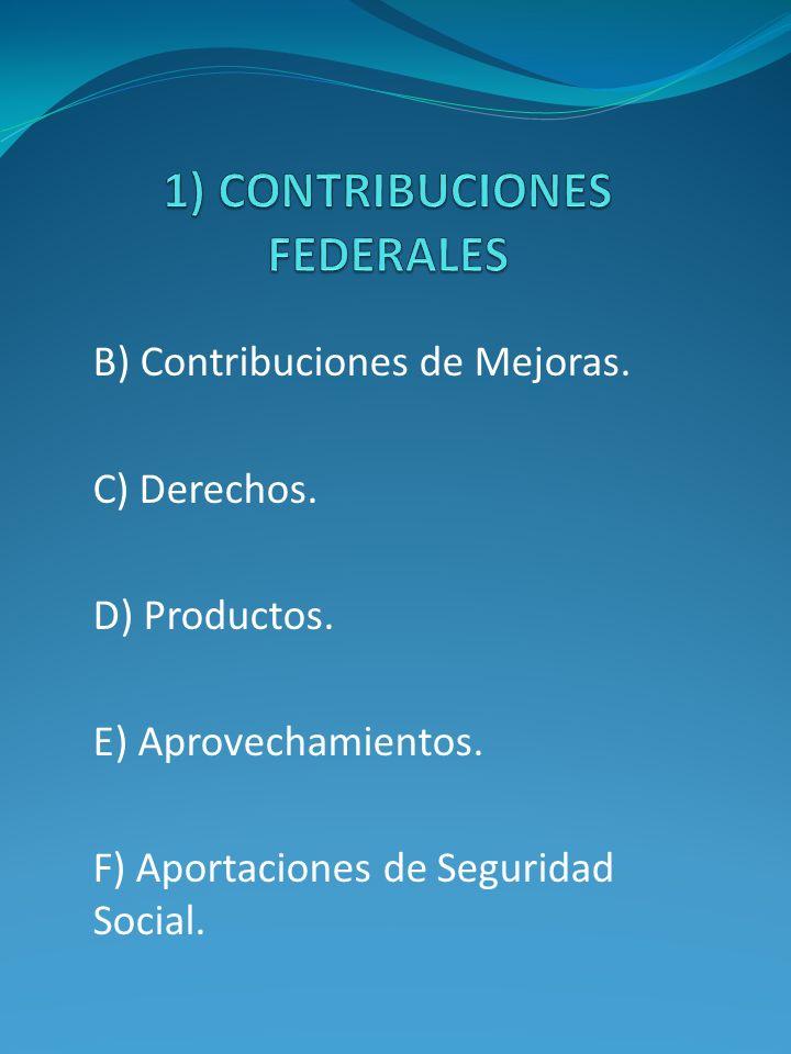 B) Contribuciones de Mejoras. C) Derechos. D) Productos. E) Aprovechamientos. F) Aportaciones de Seguridad Social.