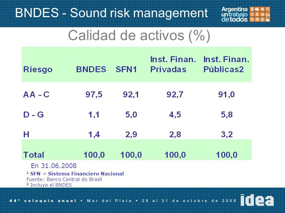 Calidad de activos (%) 1 SFN = Sistema Financiero Nacional Fuente: Banco Central do Brasil 2 Incluye el BNDES En 31.06.2008 BNDES - Sound risk management