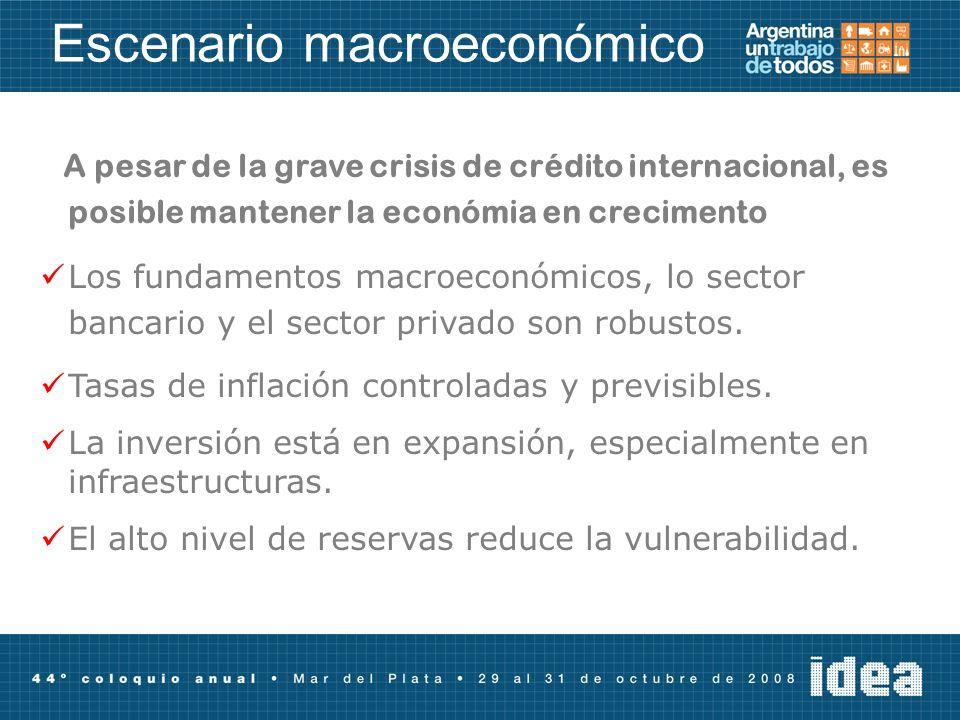 Escenario macroeconómico A pesar de la grave crisis de crédito internacional, es posible mantener la económia en crecimento Los fundamentos macroeconómicos, lo sector bancario y el sector privado son robustos.