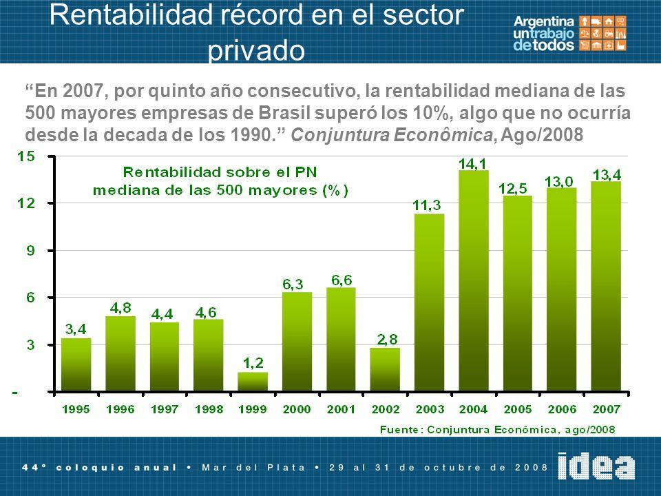 Rentabilidad récord en el sector privado En 2007, por quinto año consecutivo, la rentabilidad mediana de las 500 mayores empresas de Brasil superó los 10%, algo que no ocurría desde la decada de los 1990.