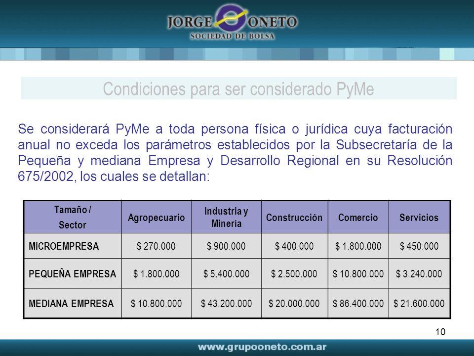 10 Se considerará PyMe a toda persona física o jurídica cuya facturación anual no exceda los parámetros establecidos por la Subsecretaría de la Pequeñ