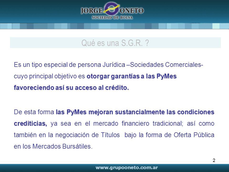 2 otorgar garantías a las PyMes favoreciendo así su acceso al crédito. Es un tipo especial de persona Jurídica –Sociedades Comerciales- cuyo principal