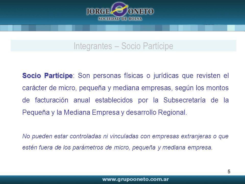 5 Socio Partícipe Socio Partícipe: Son personas físicas o jurídicas que revisten el carácter de micro, pequeña y mediana empresas, según los montos de