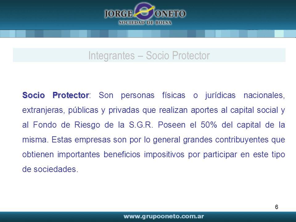 6 Socio Protector Socio Protector: Son personas físicas o jurídicas nacionales, extranjeras, públicas y privadas que realizan aportes al capital social y al Fondo de Riesgo de la S.G.R.