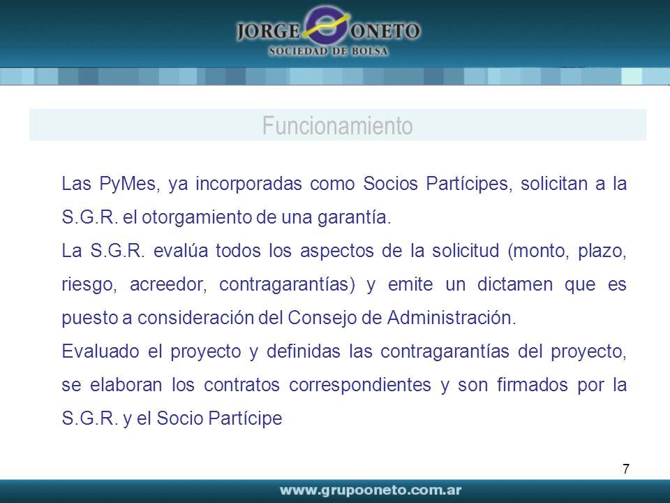 7 Las PyMes, ya incorporadas como Socios Partícipes, solicitan a la S.G.R. el otorgamiento de una garantía. La S.G.R. evalúa todos los aspectos de la