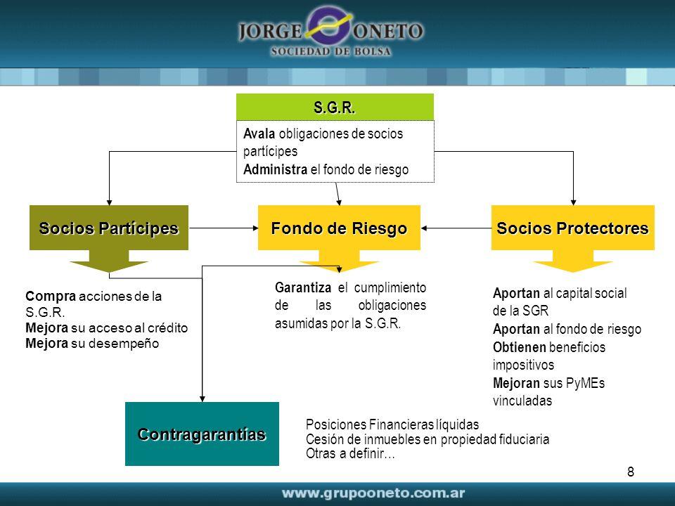 8 Garantiza el cumplimiento de las obligaciones asumidas por la S.G.R. Aportan al capital social de la SGR Aportan al fondo de riesgo Obtienen benefic