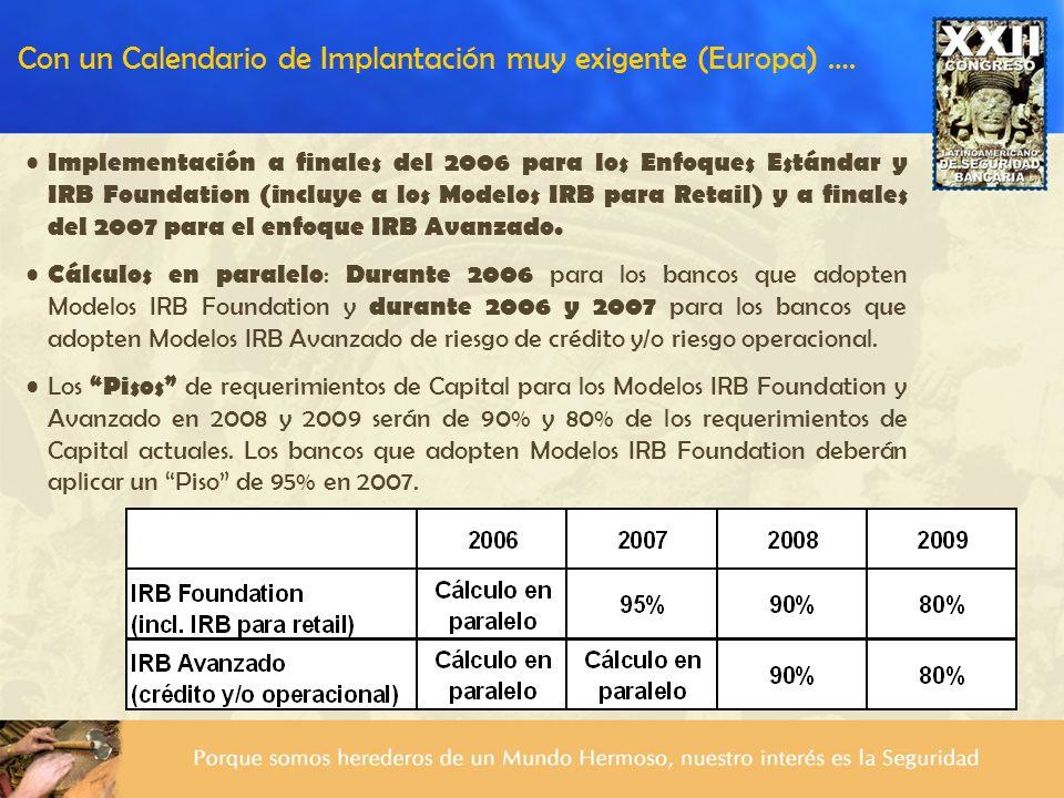 Con un Calendario de Implantación muy exigente (Europa) …. Implementación a finales del 2006 para los Enfoques Estándar y IRB Foundation (incluye a lo