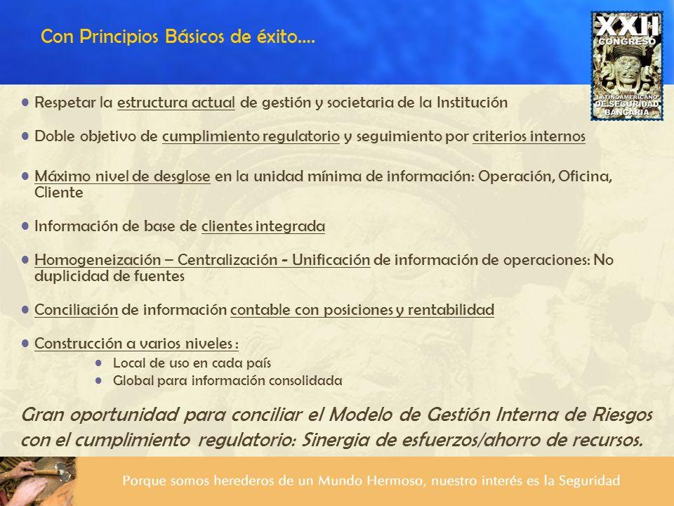 Respetar la estructura actual de gestión y societaria de la Institución Doble objetivo de cumplimiento regulatorio y seguimiento por criterios interno