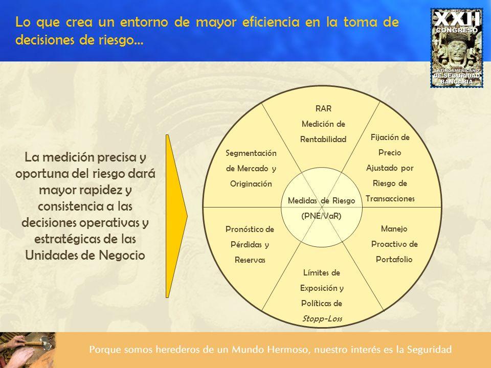 Medidas de Riesgo (PNE/VaR) RAR Medición de Rentabilidad Fijación de Precio Ajustado por Riesgo de Transacciones Segmentación de Mercado y Originación
