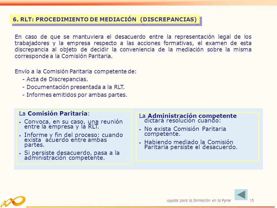 Ayudas para la formación en la Pyme15 6. RLT: PROCEDIMIENTO DE MEDIACIÓN (DISCREPANCIAS) En caso de que se mantuviera el desacuerdo entre la represent