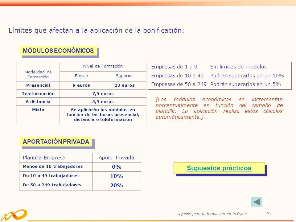 Ayudas para la formación en la Pyme21 Modalidad de Formación Nivel de Formación BásicoSuperior Presencial9 euros13 euros Teleformación7,5 euros A dist