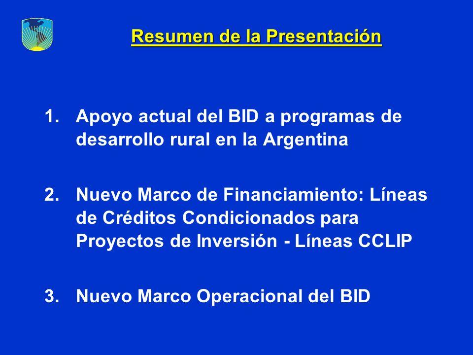 Resumen de la Presentación 1.Apoyo actual del BID a programas de desarrollo rural en la Argentina 2.Nuevo Marco de Financiamiento: Líneas de Créditos Condicionados para Proyectos de Inversión - Líneas CCLIP 3.Nuevo Marco Operacional del BID
