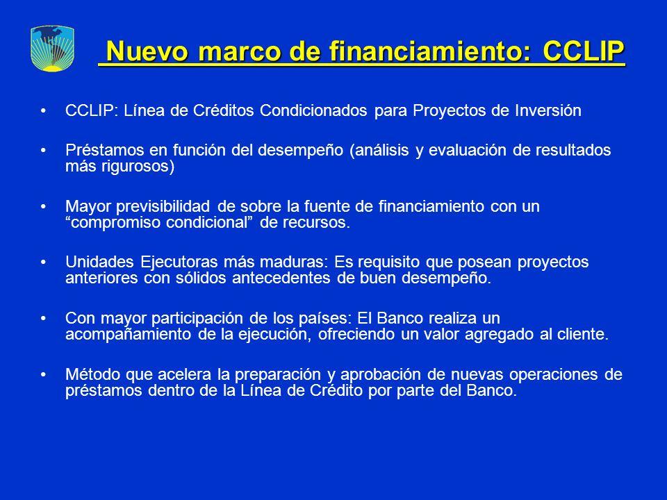 CCLIP: Línea de Créditos Condicionados para Proyectos de Inversión Préstamos en función del desempeño (análisis y evaluación de resultados más rigurosos) Mayor previsibilidad de sobre la fuente de financiamiento con un compromiso condicional de recursos.