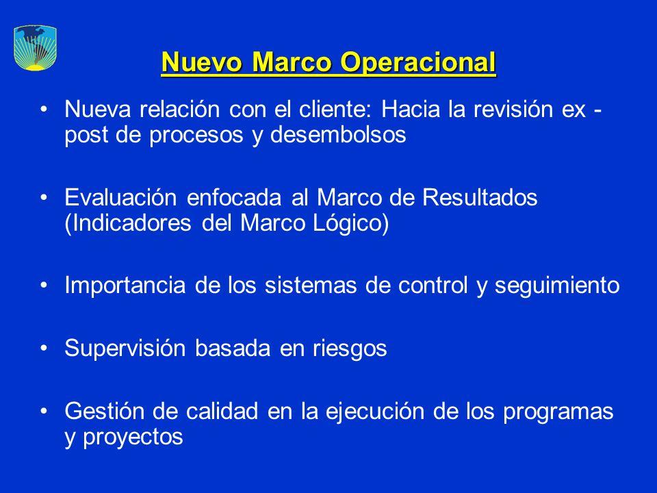 Nuevo Marco Operacional Nueva relación con el cliente: Hacia la revisión ex - post de procesos y desembolsos Evaluación enfocada al Marco de Resultado