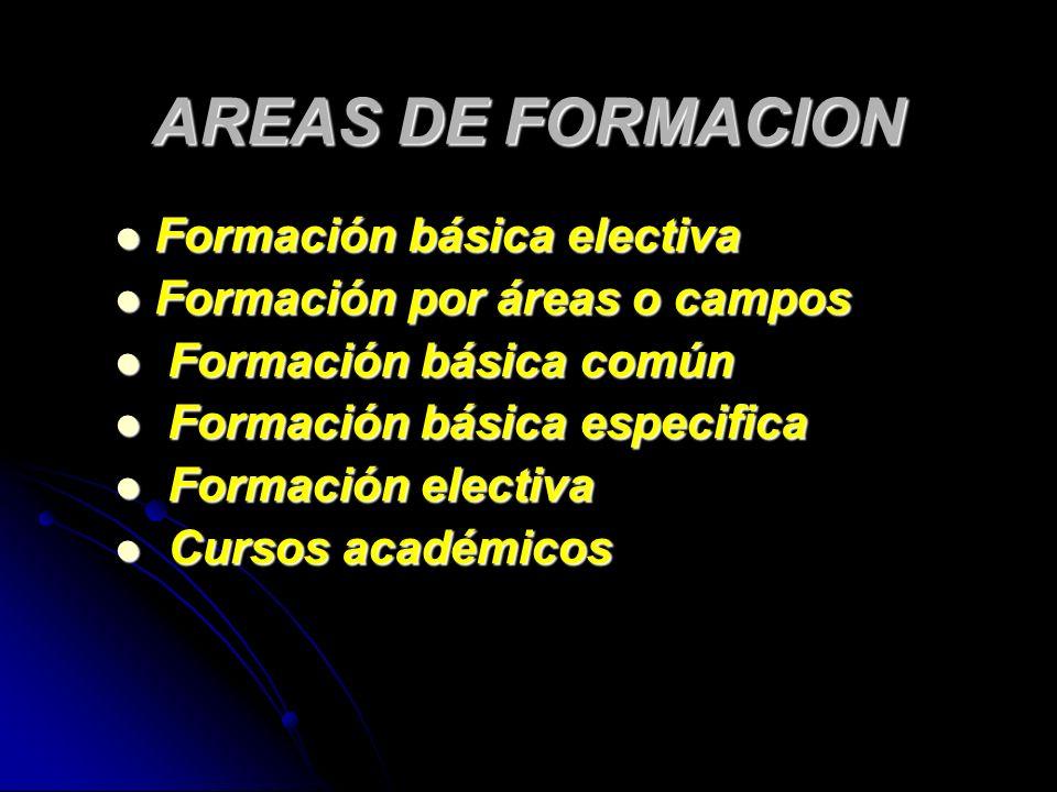 Formación básica electiva Formación básica electiva Formación por áreas o campos Formación por áreas o campos Formación básica común Formación básica