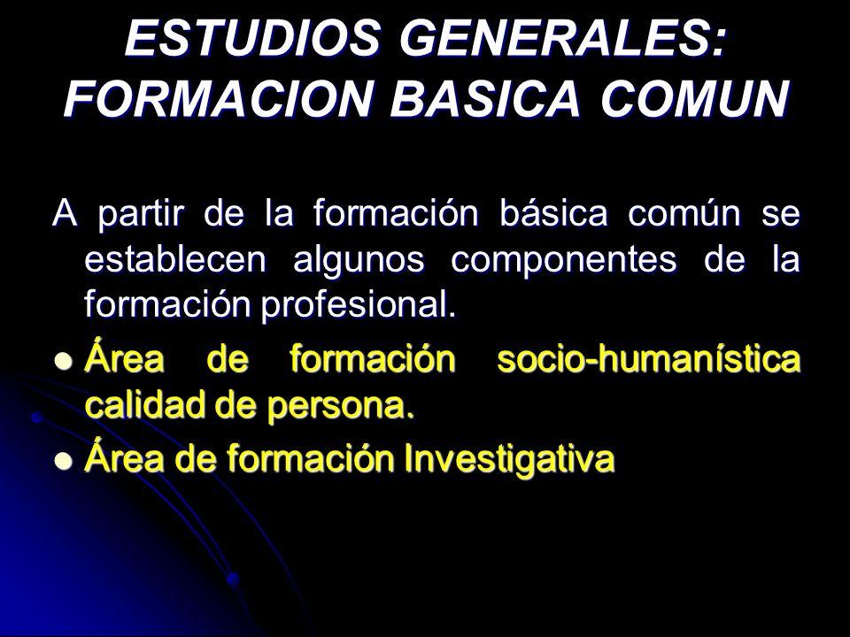 ESTUDIOS GENERALES: FORMACION BASICA COMUN A partir de la formación básica común se establecen algunos componentes de la formación profesional. Área d