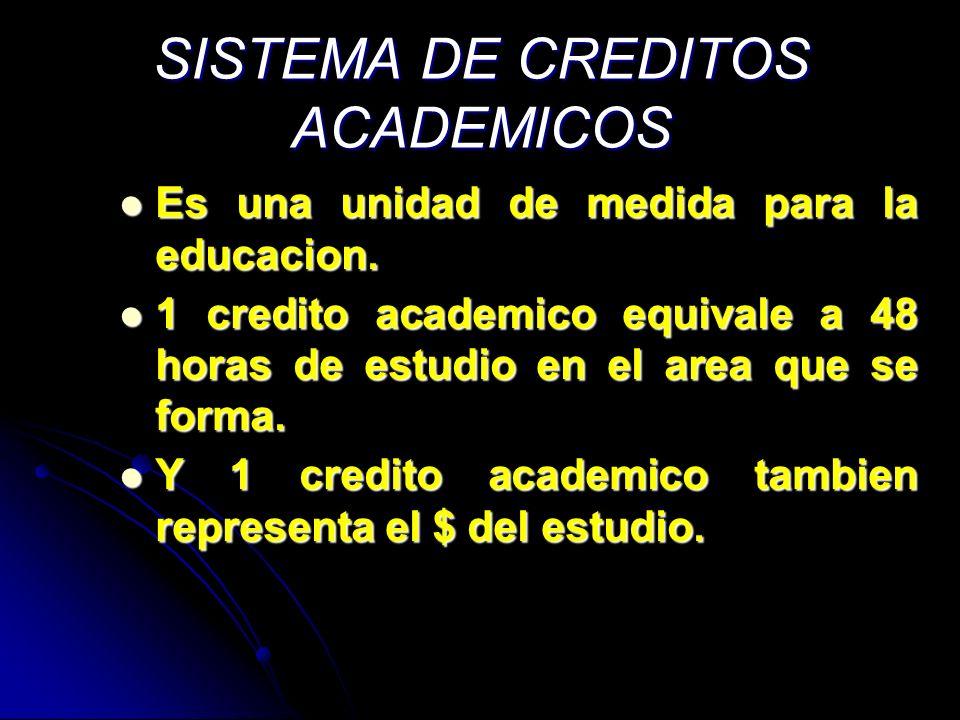 SISTEMA DE CREDITOS ACADEMICOS Es una unidad de medida para la educacion. Es una unidad de medida para la educacion. 1 credito academico equivale a 48