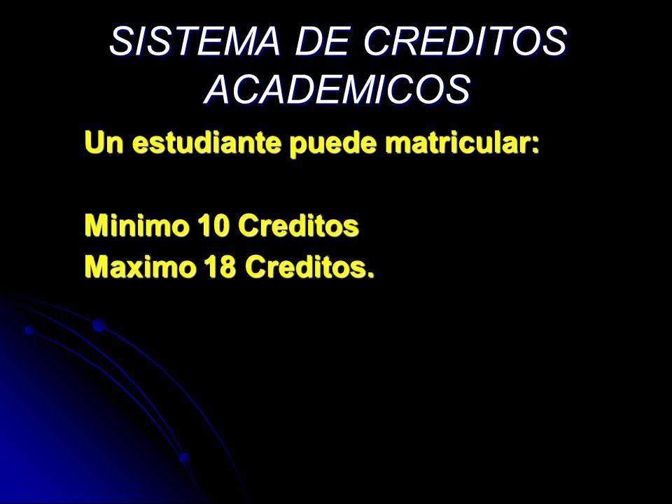SISTEMA DE CREDITOS ACADEMICOS Un estudiante puede matricular: Minimo 10 Creditos Maximo 18 Creditos.