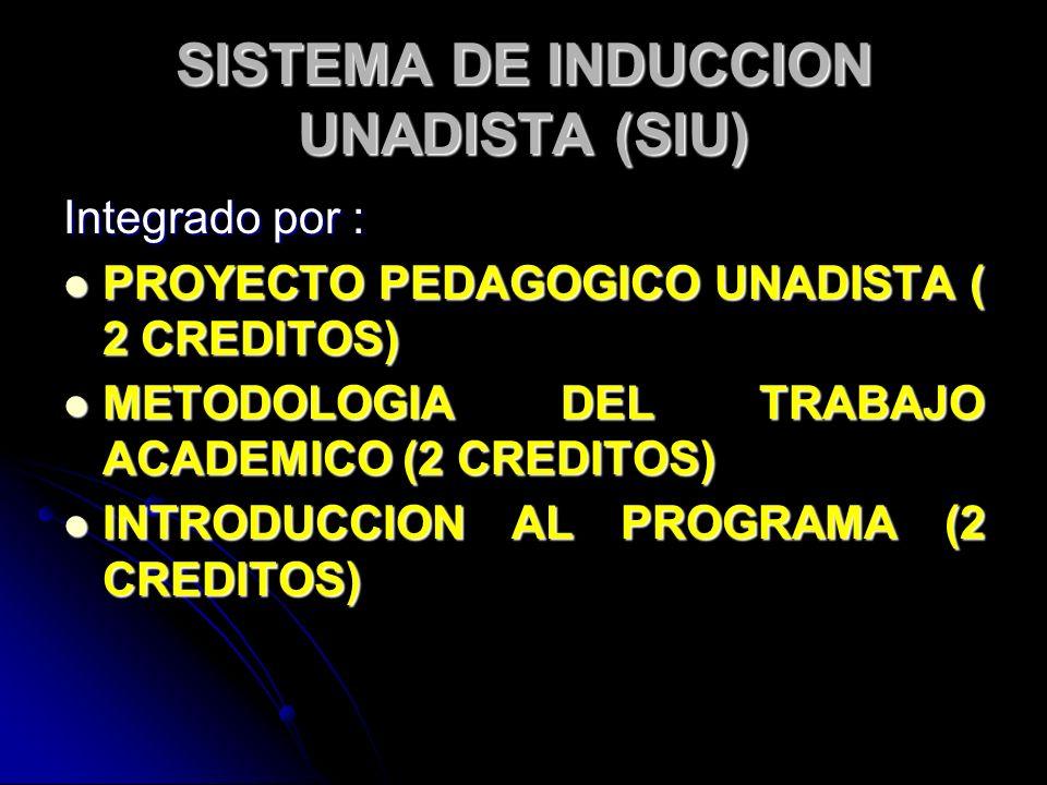 SISTEMA DE INDUCCION UNADISTA (SIU) Integrado por : PROYECTO PEDAGOGICO UNADISTA ( 2 CREDITOS) PROYECTO PEDAGOGICO UNADISTA ( 2 CREDITOS) METODOLOGIA