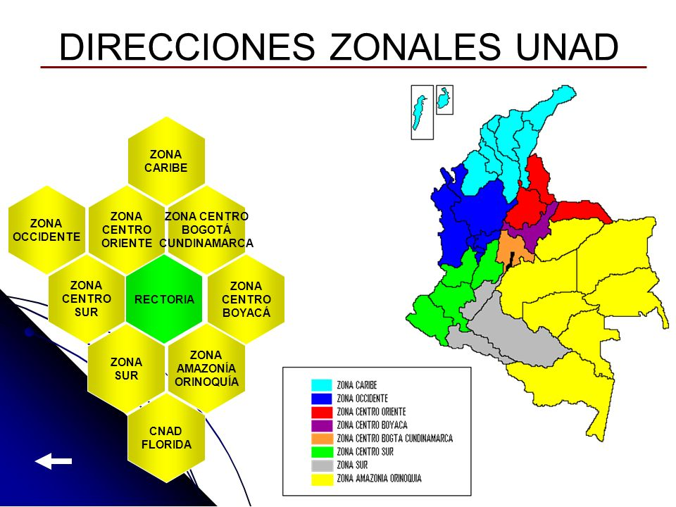 DIRECCIONES ZONALES UNAD ZONA CARIBE ZONA OCCIDENTE ZONA CENTRO ORIENTE ZONA CENTRO BOGOTÁ CUNDINAMARCA ZONA CENTRO BOYACÁ ZONA CENTRO SUR ZONA SUR ZO