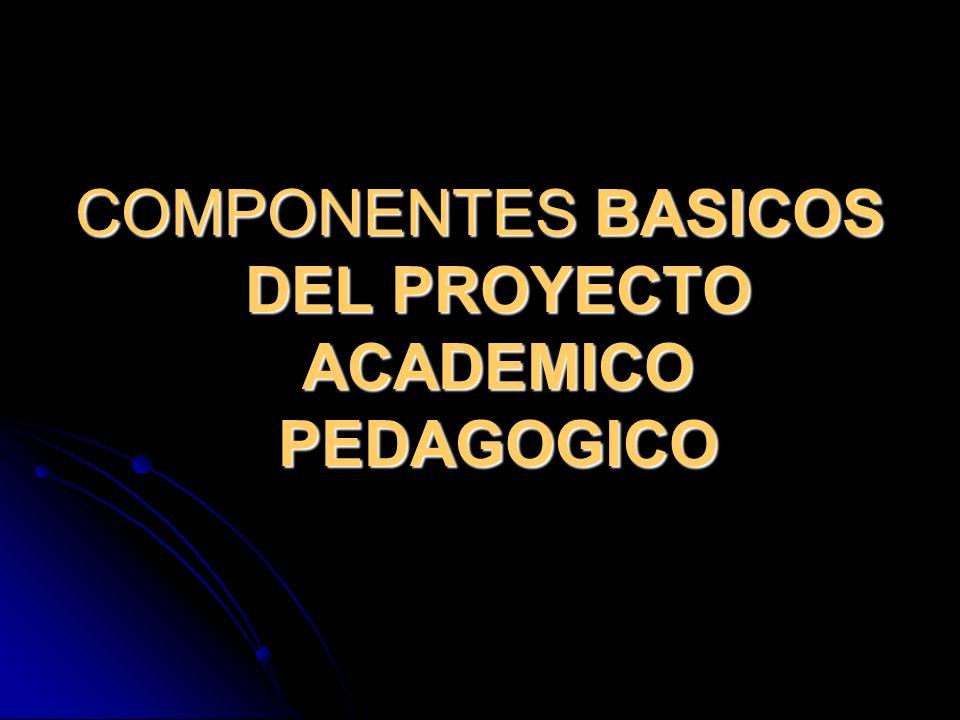 COMPONENTES BASICOS DEL PROYECTO ACADEMICO PEDAGOGICO