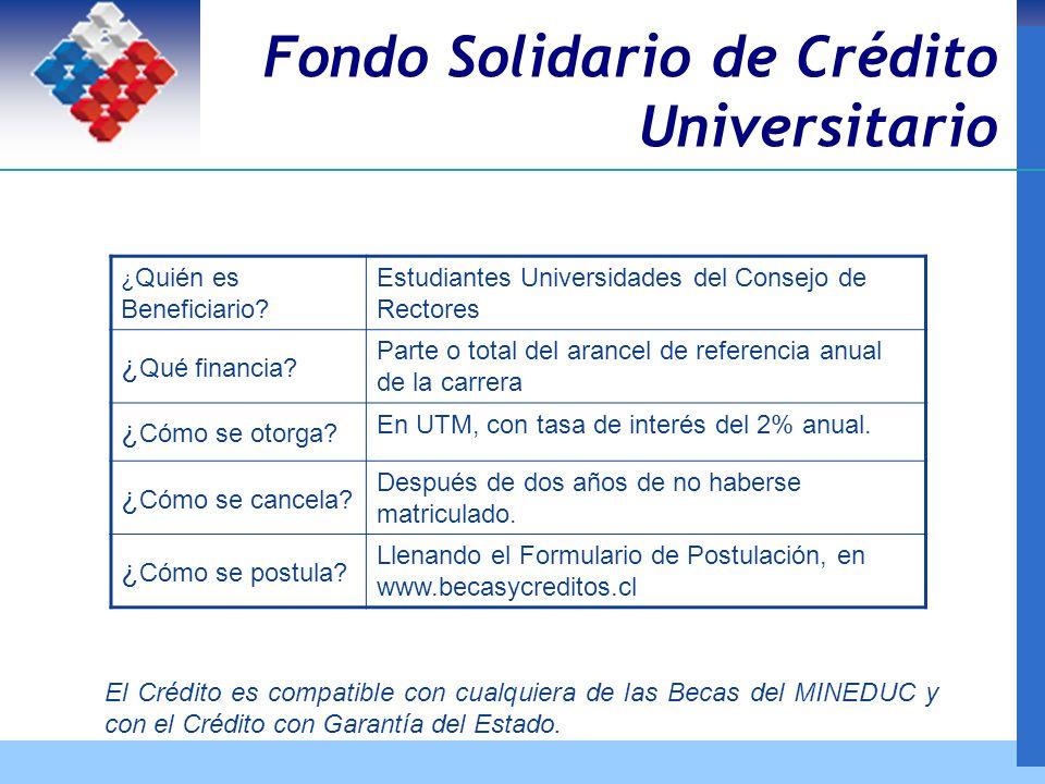 Fondo Solidario de Crédito Universitario ¿ Quién es Beneficiario.