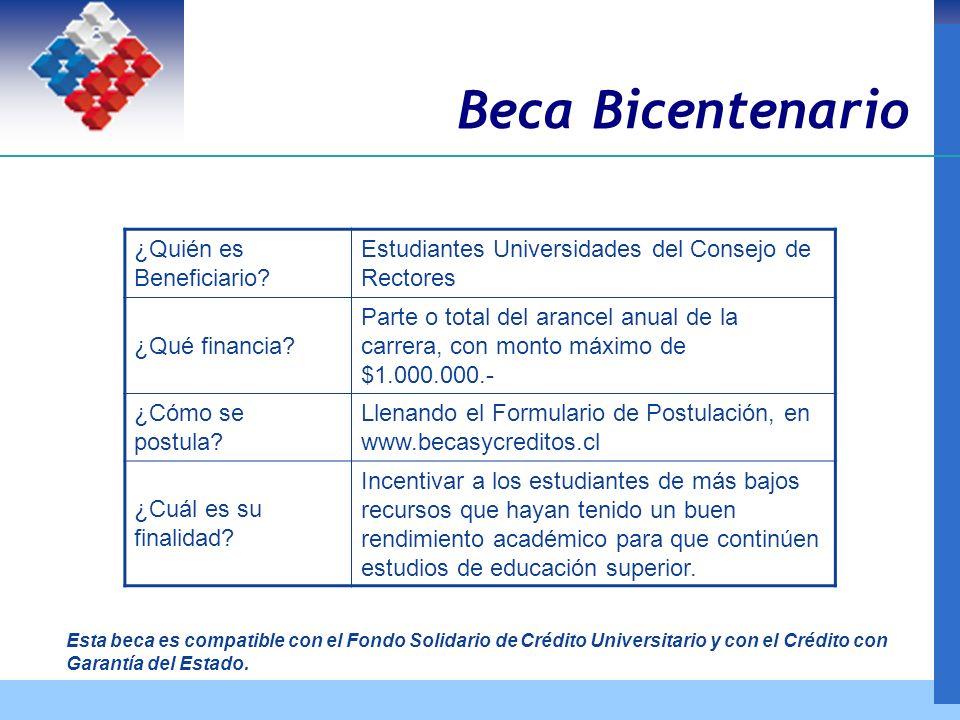 Beca Bicentenario ¿Quién es Beneficiario.