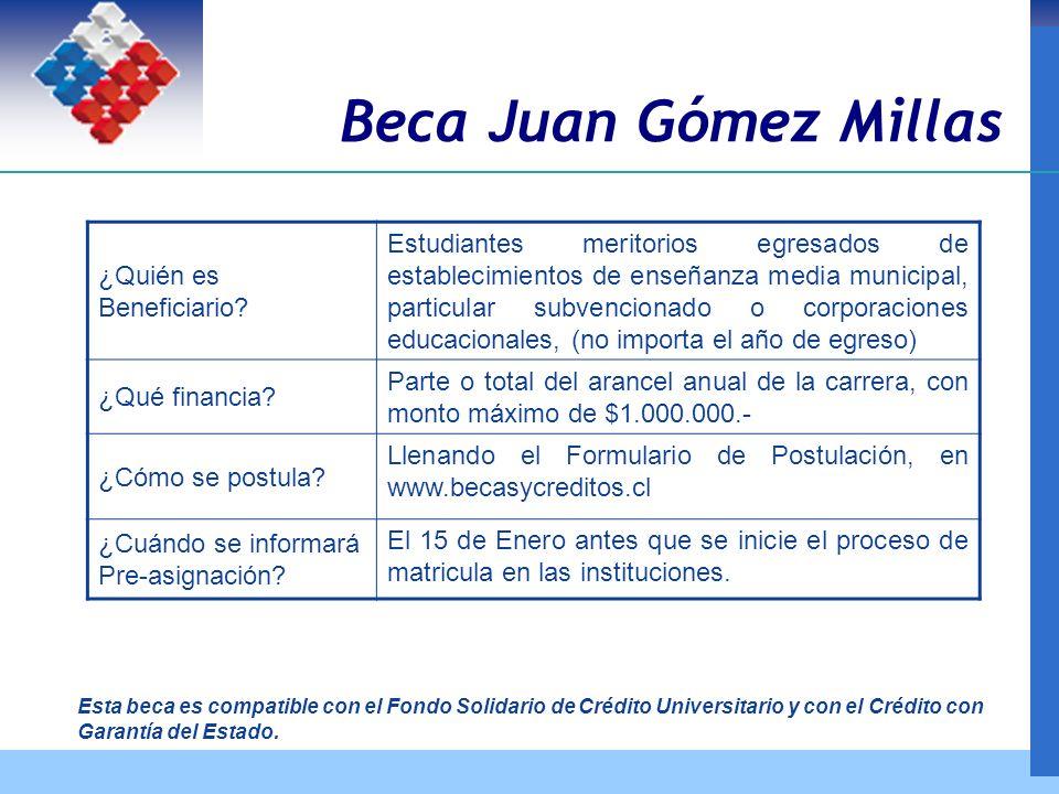 Beca Juan Gómez Millas ¿Quién es Beneficiario.