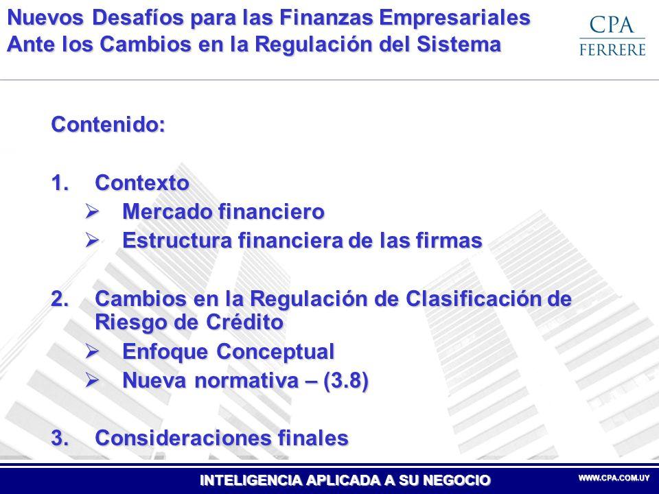 INTELIGENCIA APLICADA A SU NEGOCIO WWW.CPA.COM.UYWWW.CPA.COM.UY 1.Contexto Mercado Financiero