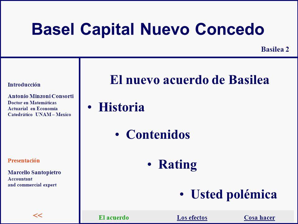 Basel Capital Nuevo Concedo Antonio Minzoni Consorti Doctor en Matemáticas Actuarial en Economía Catedrático UNAM – Mexico Introducción Presentación E
