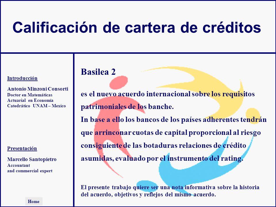 Calificación de cartera de créditos Antonio Minzoni Consorti Doctor en Matemáticas Actuarial en Economía Catedrático UNAM – Mexico Introducción Presen