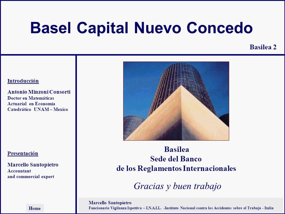 Basel Capital Nuevo Concedo Antonio Minzoni Consorti Doctor en Matemáticas Actuarial en Economía Catedrático UNAM – Mexico Marcello Santopietro Accoun