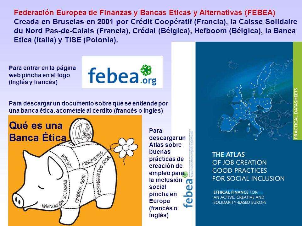 Federación Europea de Finanzas y Bancas Eticas y Alternativas (FEBEA) Creada en Bruselas en 2001 por Crédit Coopératif (Francia), la Caisse Solidaire du Nord Pas-de-Calais (Francia), Crédal (Bélgica), Hefboom (Bélgica), la Banca Etica (Italia) y TISE (Polonia).