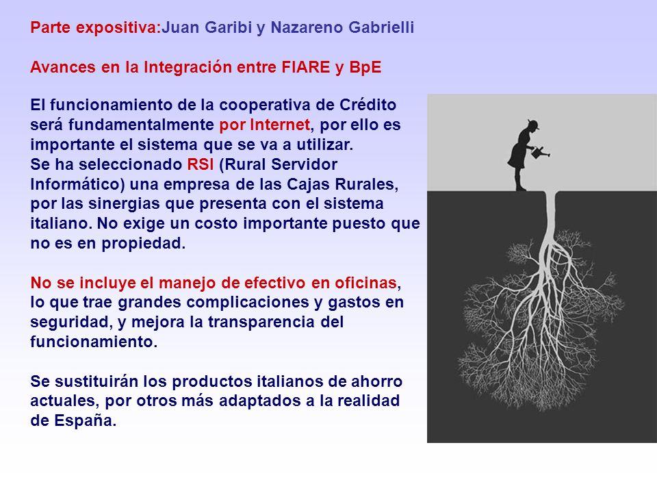 Parte expositiva:Juan Garibi y Nazareno Gabrielli Avances en la Integración entre FIARE y BpE El funcionamiento de la cooperativa de Crédito será fundamentalmente por Internet, por ello es importante el sistema que se va a utilizar.
