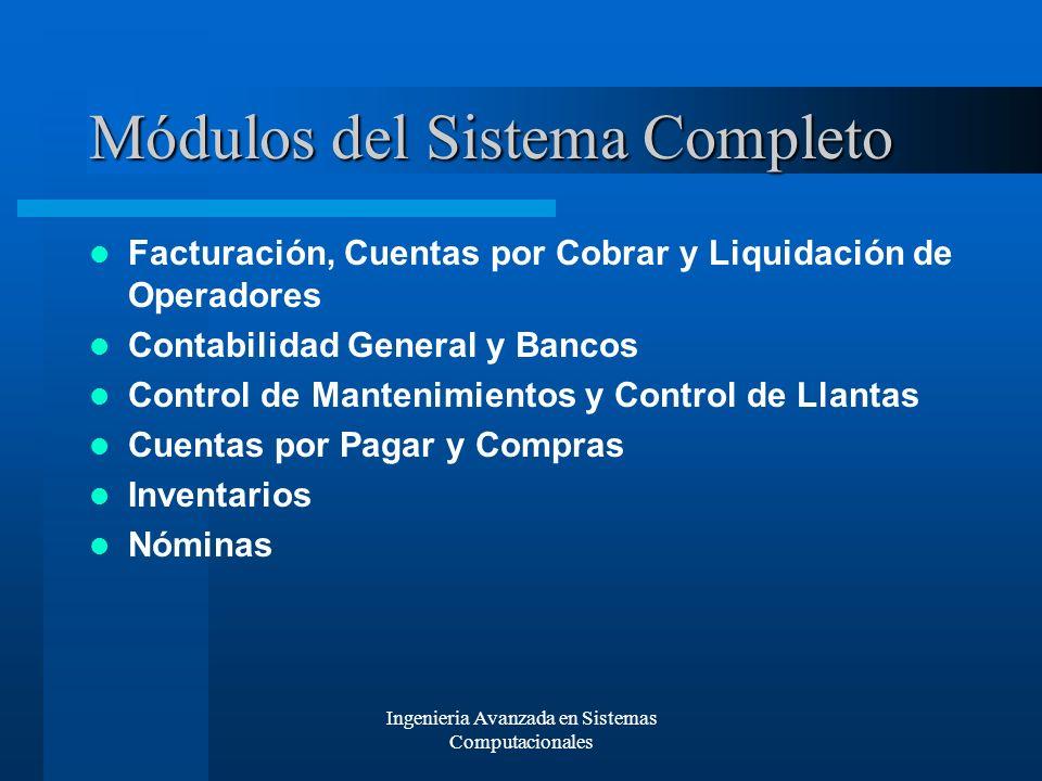 Ingenieria Avanzada en Sistemas Computacionales Módulos del Sistema Completo Facturación, Cuentas por Cobrar y Liquidación de Operadores Contabilidad